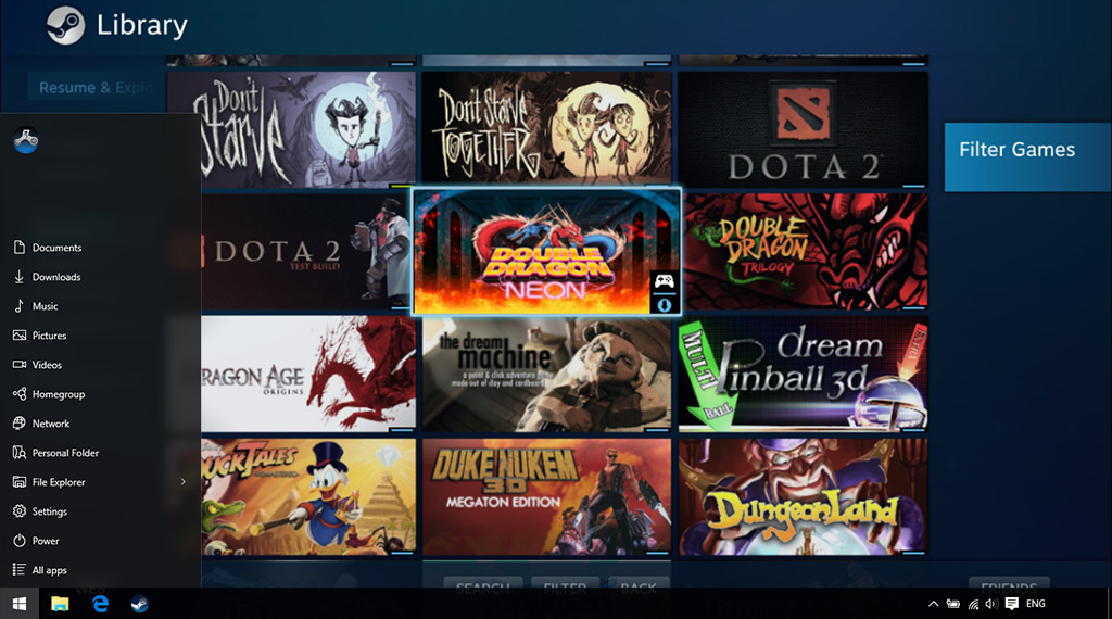 Steam Big Picture Mode running on Windows 10