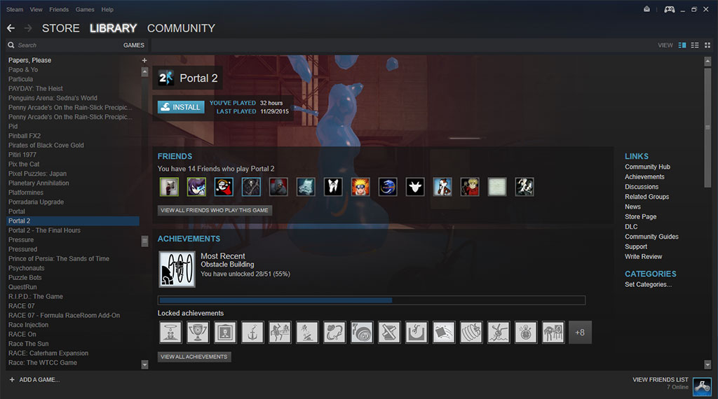 The default Steam client window on most computer platforms
