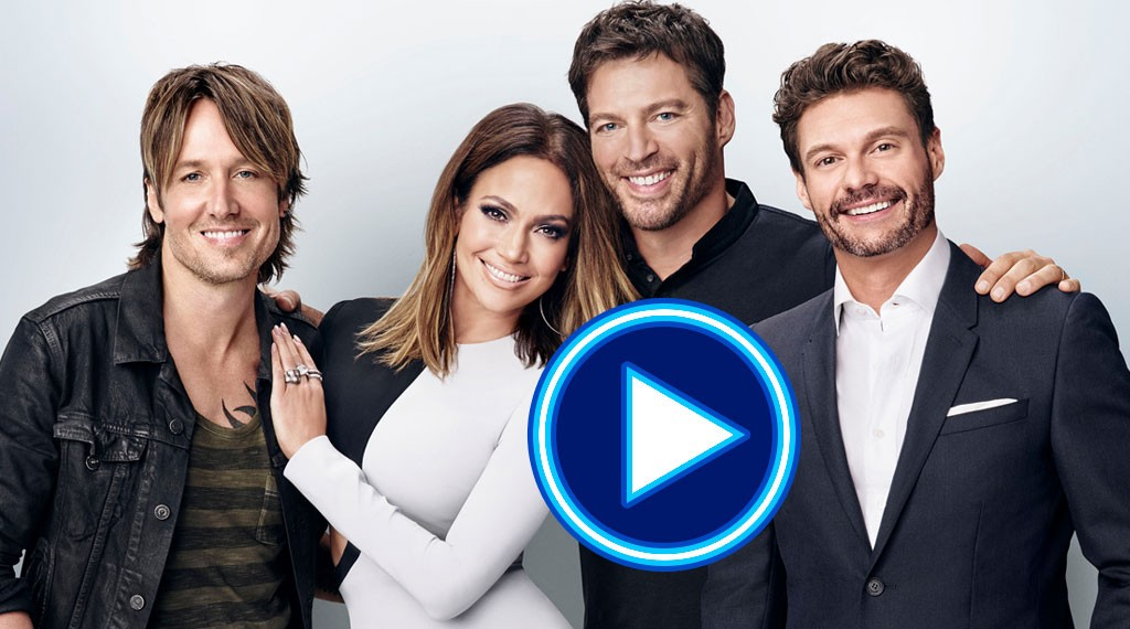 American Idol judges and hosts for the Farewell Season (left to right): Keith Urban, Jennifer Lopez, Harry Connick, Jr. and Ryan Seacrest